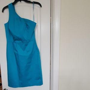 Teal one shoulder sleeveless Jcrew dress